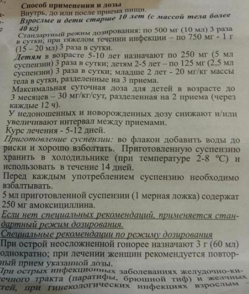 Инструкция по применению Амоксициллин